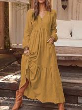 Макси платья с длинными рукавами кофе коричневый V-образным вырезом оборками макси льняное платье до пола