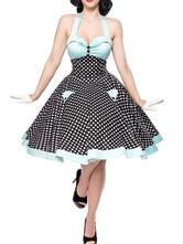 Traje pin up girl vestido vintage dos anos 1950 Vestido rockabilly de bolinhas