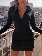 Maxi Dresses Long Sleeves Black Stand Collar Zipper Polyester Floor Length Dress