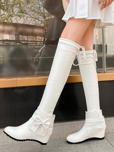 Sweet Lolita Boots Lace Bow Hidden Heel PU Leather Round Toe Lolita Shoes