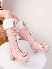 Sweet Lolita Boots Bow Pom Poms Faux Fur Lace Up Lolita Footwear