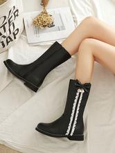 Sweet Lolita Boots Bows Round Toe PU Leather Lolita Footwear