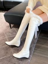 Lolita Boots Faux Fur Lace Tape Lolita Shoes