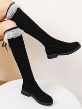 Lolita Boots Flat Micro Suede Upper Round Toe Lolita Footwear