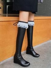 Lolita Boots Hidden Heel PU Leather Round Toe Lolita Footwear