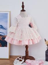 Kids Lolita Dress Pink Lace Long Sleeve Tutu Dress