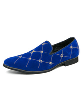 Men's Loafer Shoes Cosy Blue Plaid Embroidered Slip-On Leather Dress Shoes Party Shoes