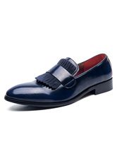 Mens Loafer Shoes Slip-On Round Toe Leather Blue Dress Shoes Party Shoes