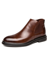 Man's Boots Round Toe Brown Leather Chelsea Boots Cowboy Boots