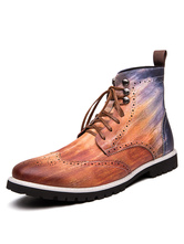 Boots For Man Distressed Round Toe Brown Ombre Carved Leather Martin Boots