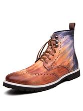 Ботинки для мужчин Рваные ботинки с круглым носком Коричневые ботинки Martin из искусственной кожи с резным эффектом омбре