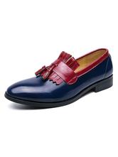 Mens Loafer Shoes Blue Slip-On Tessel Formal Shoes