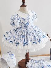 Kids Lolita Dress Floral Print Flower Girl Dress