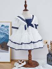 Kids Lolita Dress Sailor Style Tiered Flower Girl Dress