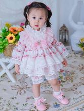 Kinder Lolita Kleid Spitze Rüschen Blumen Mädchen Kleid