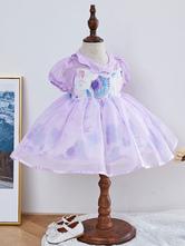 Детское платье в стиле лолиты с принтом морских звезд с пышными рукавами и цветочным узором для девочек