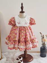 Kids Lolita Dress Floral Print Puff Sleeve Cotton Flower Girl Dress
