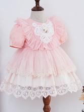 Kids Lolita Dress Pink Ruffles Short Sleeve Tutu Dress And Panties