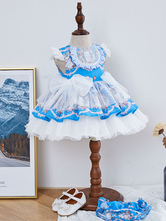 Robe Lolita Enfant Robe Tutu Bleue à Volants