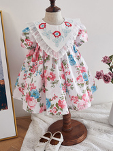 Kids Lolita Dress Floral Print Short Sleeve Summer Dress