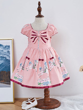 Kids Lolita Dress Pink Bow Pony Print Short Sleeve Tutu Dress