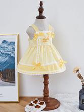 Kids Lolita Dress JSK Yellow Plaid Lolita Jumper Skirt