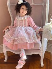 Kids Lolita Dress Lace Long Sleeve Princess Dress