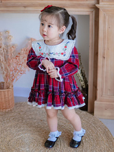 Kinder Lolita Kleid Plaid Langarm Tutu Kleid