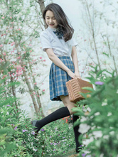 Mercadoria de anime com uniforme escolar JK Outfit xadrez azul