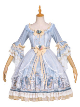 Classic Lolita OP Dress Fairy Overture BowsFlowers Lolita One Piece Dresses