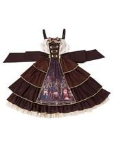 Classic Lolita JSK Dress Chemist Bows Chocolate Lolita Jumper Skirts