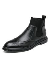Bottes pour hommes Bout rond en cuir Synthétique Bottes chelsea brodées Chaussures pour hommes