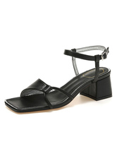 Women's Black Block Heels Open Toe Summer Sandals