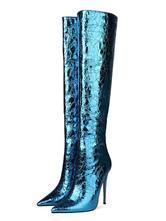 Сапоги до колена Ослепительно синий остроконечный носок на шпильке Высокий каблук Женские сапоги для ночного клуба