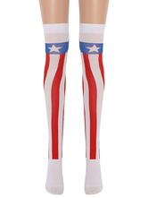 Women Saloon Stockings American Flag Knee High Socks Halloween Cosplay Costume Accessories