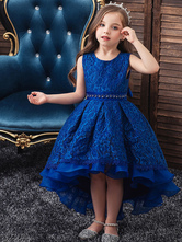Flower Girl Dresses Jewel Neck Polyester Sleeveless With Train Princess Silhouette Bows Kids Party Dresses