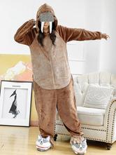Pyjamas Kigurumi Carnaval Morse Onesie Adulte Café Marron Flanelle Combinaison Costume Carnavals Cosplay Halloween