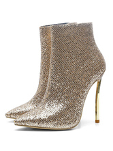 Women Ankle Boots Light Gold Sequined Pointed Toe Stiletto Heel High Heel Booties