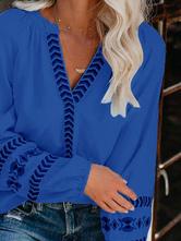 Boho Women Blouse Deep Blue V-Neck Long Sleeve Casual Tops