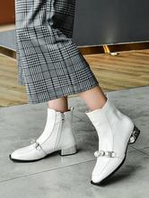 Stivaletti da donna Pelle bovina Dettagli in metallo bianco Punta quadrata Perle artificiali in peluche Stivali con zip
