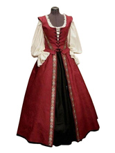 Vestido vintage medieval laço vermelho em camadas sem mangas halter vestido swing vestido de formatura