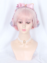 Sweet Lolita Wig Lavender Fibra resistente ao calor Arcos acessórios Lolita
