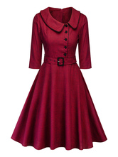Vintage Dress 1950s Red Plaid Woman's Lace Up Half Sleeves Peter Pan Collar Rockabilly Dress