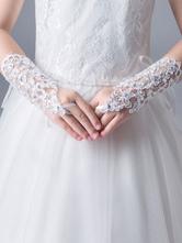 Guantes de una muchacha de flor guantes blancos diamantes de imitación de vacaciones