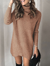 Abito maglione da donna lavorato a maglia a maniche lunghe in acrilico moderno a collo alto monocolore
