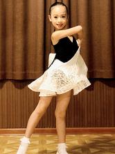 Enfants robes de danse latine filles noires ensemble jupe lycra spandex haut costume de danse