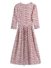 Robe vintage des années 1950 col bijou manches 3/4 longueur femme Robe Rétro Mi-Longue Imprimée Fruit