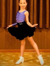 Costume da ballo latino per bambini Costume da ballo per ragazze viola con gonna in lycra spandex
