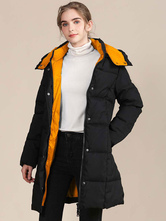Women Puffer Coats Black Warmth Hooded Zipper Long Sleeves Color Block Longline Winter Coat