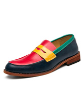 Mens Loafer Shoes Red Fashion Slip-On Artwork Round Toe Leather